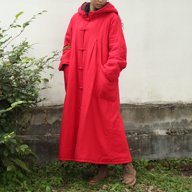 Vintage Chinese Winter Coat Slub Linen Women Hooded Long Coats Cotton Quilt Trench Coat Long Sleeve Robe Manteau Femme Abrigos womens winter jackets and coats winter jacket women coat manteau femme thickened long casaco feminino inverno abrigos 001