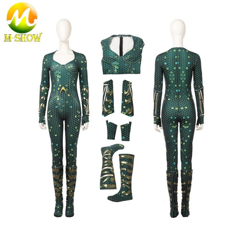 Aquaman Mera Cosplay Costume Carnival Halloween Costume for adult Cosplay Aquaman Queen Mera jumpsuit Costume Custom made