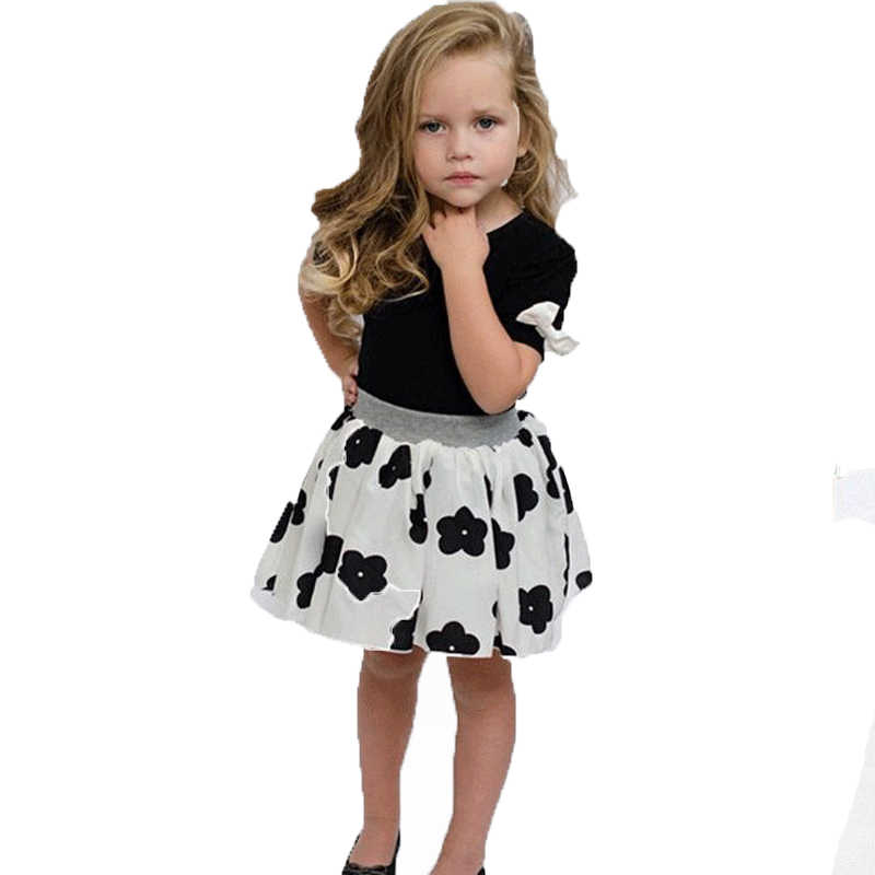 a444259c1a43 Baby Kid Girl Cartoon Flower Clothes Set Short Sleeve T shirt Floral skirt  the casual cute
