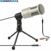SOONHUA Professionelle Kondensator Tonaufnahme Mikrofon 3,5mm PC Mic Studio Micphone mit Shock Mount Stativ für PC Laptop