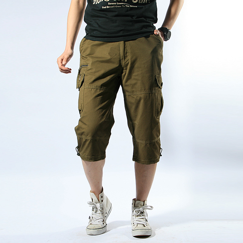 86 Summer Mens Baggy Multi Pocket Military Zipper Cargo Short Hot breeches Long Army Green Khaki Men Tactical Short Plus Size