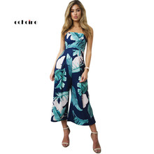 Echoine Women Jumpsuit Floral Print Sexy Strapless Off Shoulder Chiffon Loose Long Wide Leg Pants Lady Elegant Romper Streetwear