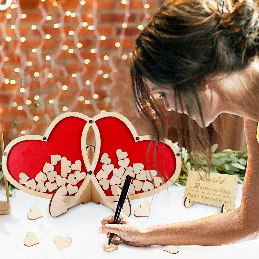 QIFU Personalized Double Heart Signature Wedding Guest Book Wedding Decor Guestbook Wedding Custom Customized Gift Keepsake Box