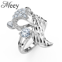 Selling pure silver lady charming elegant fox ring exquisite craft mosaic zircon classic fashion jewelry