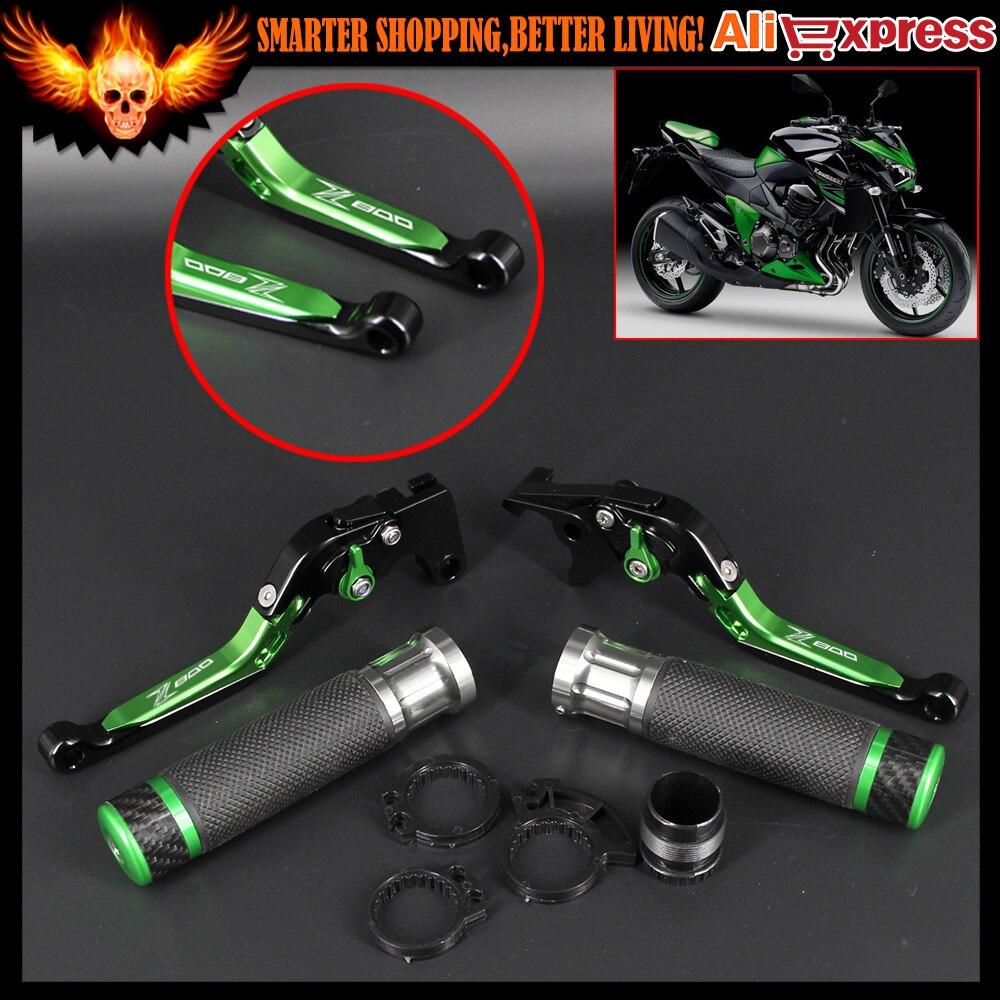 Motorcycle CNC Adjustable Brake Clutch Levers and Handlebar Hand Grips Set for Kawasaki Z800/E version 2013-2016 2014 2015