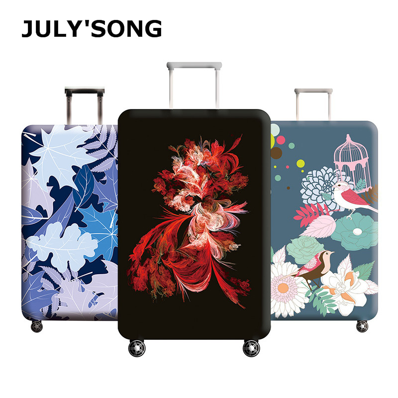 JULY'S SONG Plum Flower Travel Luggage Cover Bird Pattern Women's Trolley Suitcase Cover Travel Suitcase Case Protect Dust Case