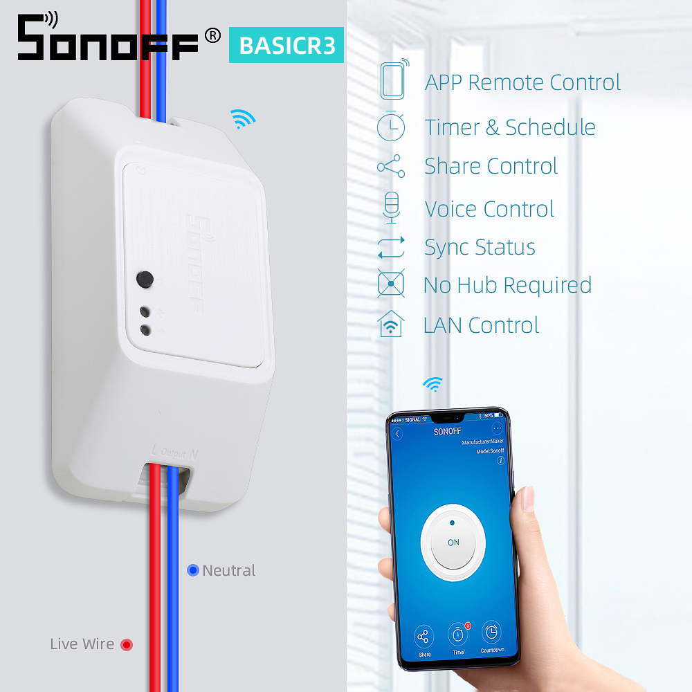 Sonoff Básica R3 Wi-fi Sem Fio Interruptor 10A 100-240V Módulo de Relé de Controle Remoto Casa Inteligente Para Ewelink Google casa Alexa