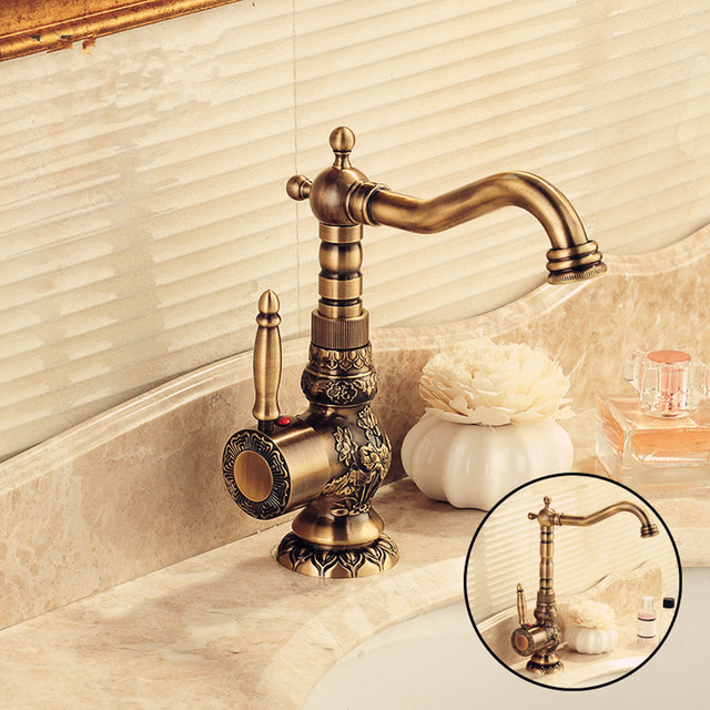 European Bathroom Faucet Antique Brass Basin Faucet Carved Taps Hot And  Cold Water Tap Mounted Kitchen