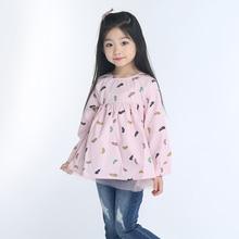2-9 ans Filles Enfants Basant La Chemise de robe d'enfant vêtements Enfants robe de printemps et d'été paniers longue à manches Coton