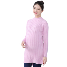 Pregnant Women Sweater Autumn Winter Outfit Long Sleeve O-Neck Pregnant Solid Dress Winter Casual Preganacy Clothes Sweater MY36