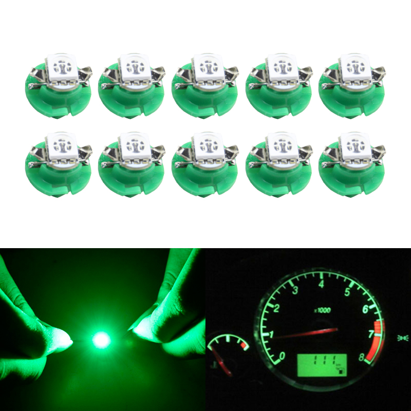 <font><b>T5</b></font> B8.4D <font><b>5050</b></font> 1-<font><b>SMD</b></font> <font><b>Led</b></font> Wedge Lamp Car Dashboard Warning Indicator Replacement Bulb B8.4 Auto Panel Lights Green Bulb image