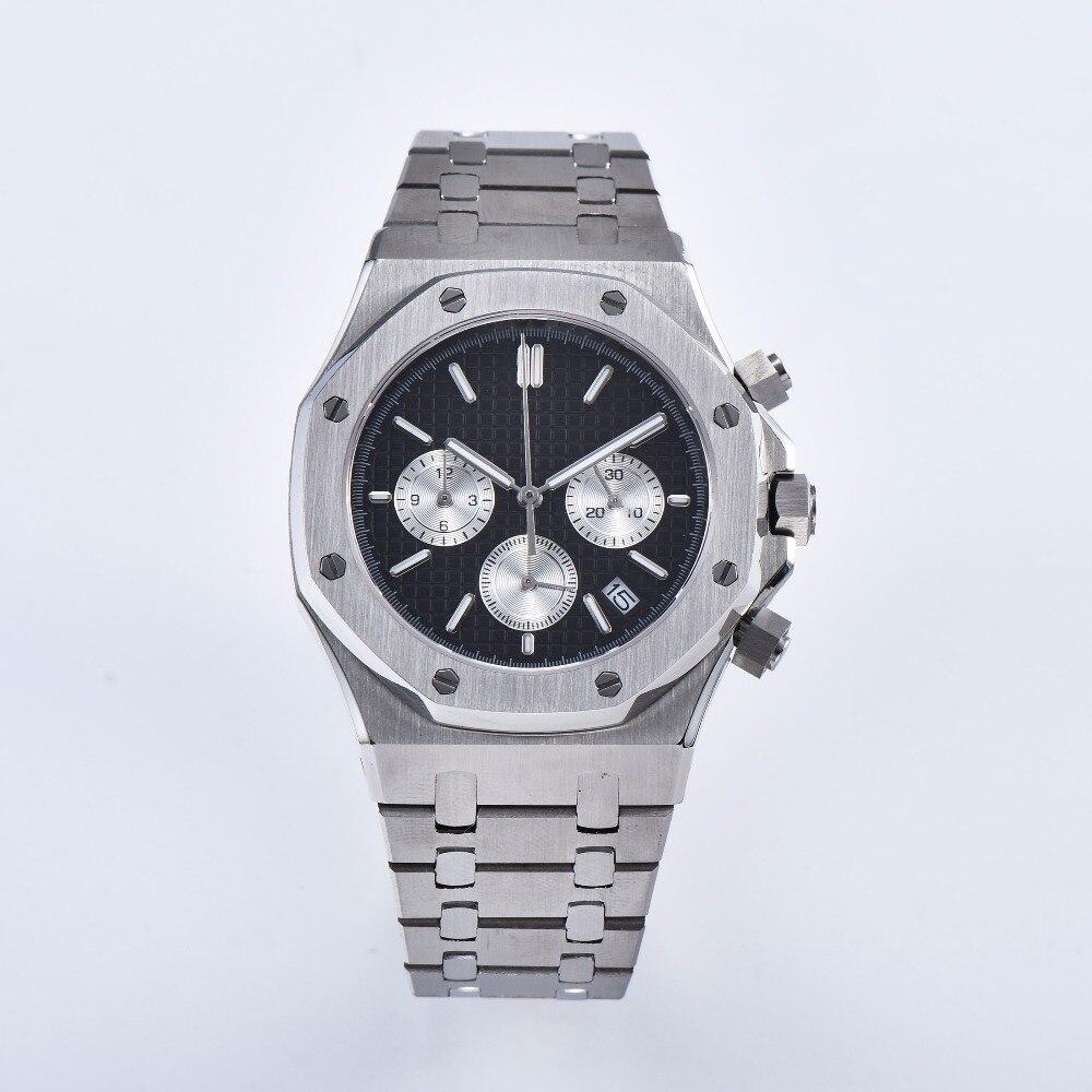 Montre à quartz mouvement 41mm Japonais chronographe 316L acier inoxydable shell bracelet saphir cristal objectif 127-21