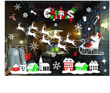 Christmas Decoration New Year Window Glass PVC Wall Sticker  Christmas DIY Snow Town Wall Stickers Home Decafor Home Supplies