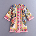 2016 Spring Autumn New Fashion Women Half Sleeve Beautiful Button Tassel Fan Printed Short Jacket B146