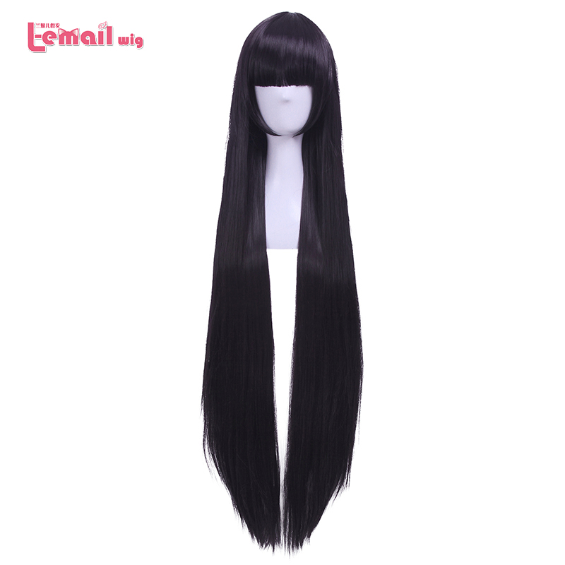 L-email Wig  New Women 100cm Cosplay Wigs Long Straight Purple High Temperature Fiber Synthetic Hair Perucas Cosplay Wig