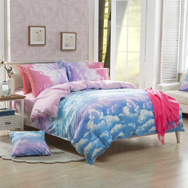 beautiful clouds clouds style cotton bedding set bed cover set 34pcs bedding set pink color bedclothes fast shipping