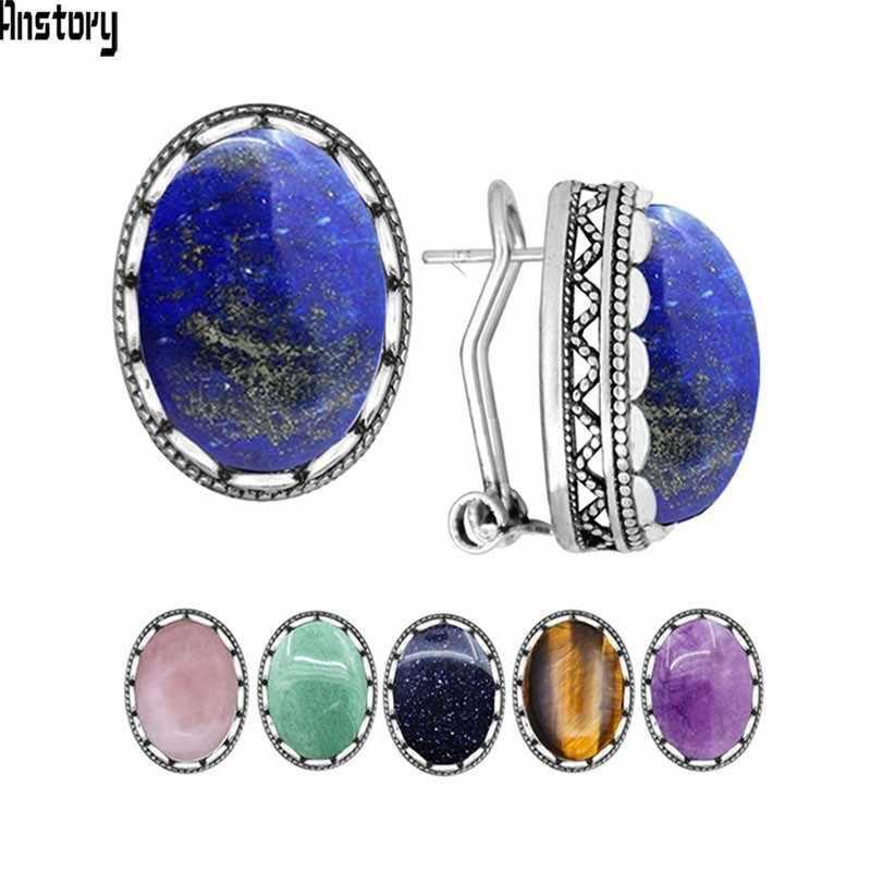 ธรรมชาติ Lapis Lazuli Tiger Eye สีชมพูควอตซ์ Jades Blue Sequins ต่างหูโบราณ Sliver ชุบแฟชั่นเครื่องประดับสำหรับผู้หญิง