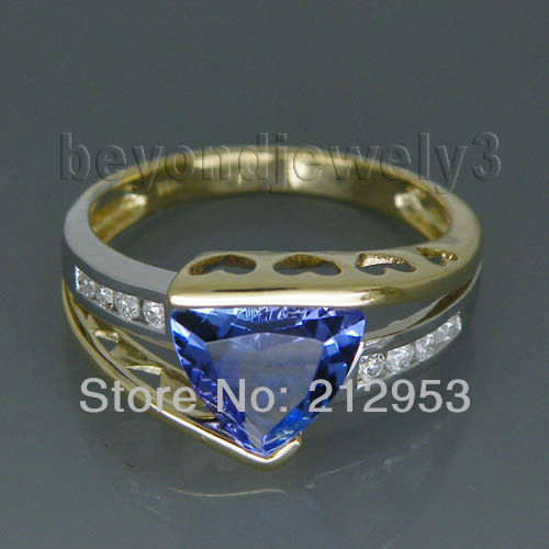 Fine Jewelry Vintage Trillion 8mm Solid 14kt Two Tone Gold Tanzanite Ring SR335