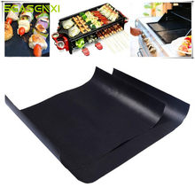 1pc 2pcs/lot Barbecue Grill Mat Reusable Non-stick BBQ Cooking Baking Mats Covers Sheet Foil BBQ Liner Tool 33*40cm 0.2mm Thick(China)