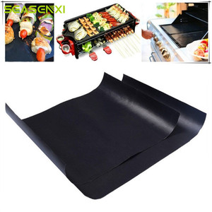 Barbecue Grill Mat Reusable Non-stick BBQ Cooking Baking Mats Covers Sheet Foil BBQ Liner Tool 33*40cm 0.2mm Thick(China)