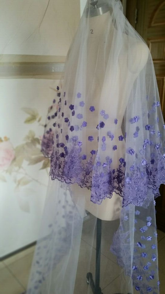 2017 Custom Lique 2 T Cathedral Purple Long Bridal Wedding Veil Lace Petal In Veils From Weddings Events On Aliexpress Alibaba Group