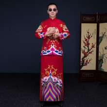 Show men's clothing pratensis chinese style wedding Gown red embroidery groom evening Long gown kimono jacket tang suit costume