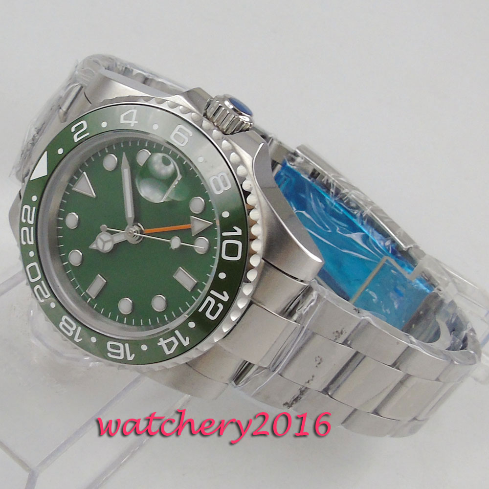 40mm Green Sterile Dial GMT Sapphire Glass Ceramic Bezel Date LUME Luxury Automatic Movement mens WatchMetal Strap Mens Gift40mm Green Sterile Dial GMT Sapphire Glass Ceramic Bezel Date LUME Luxury Automatic Movement mens WatchMetal Strap Mens Gift