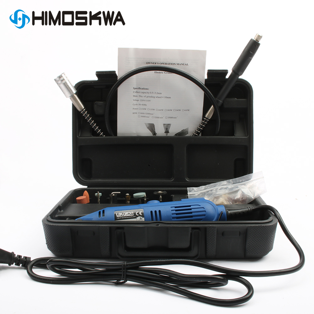 HIMOSKWA 40pcs mini electric grinder set with soft shaft adjustable speed electric grinder polishing machine drilling