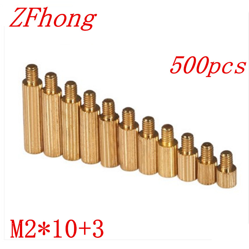 500pcs/lot M2*10+3  m2*10 Brass Round Standoff Spacer Male Female M2 Brass Threaded Spacer m2 3 3 1pcs brass standoff 3mm spacer standard male female brass standoffs metric thread column high quality 1 piece sale