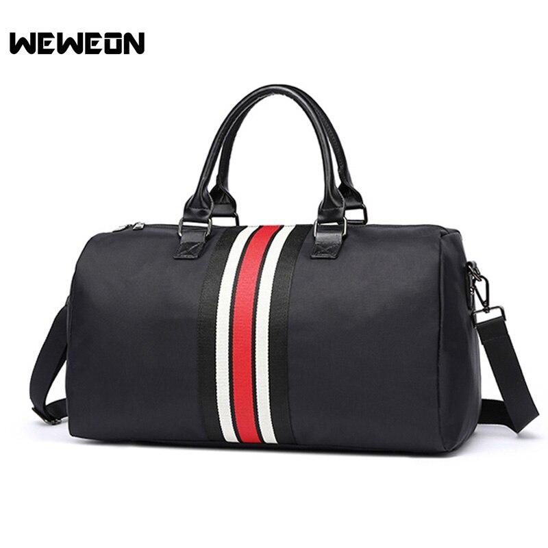 Color Stripe Nylon Sports Handbag Women Stylish Strip Gym Bag Men