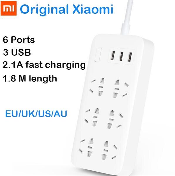 imágenes para Original xiaomi mi regleta de alimentación inteligente de 6 puertos con 3 usb rápido 2.1A carga USB Enchufe Cargador de Enchufe EE.UU. REINO UNIDO de LA UE AU Poder tira