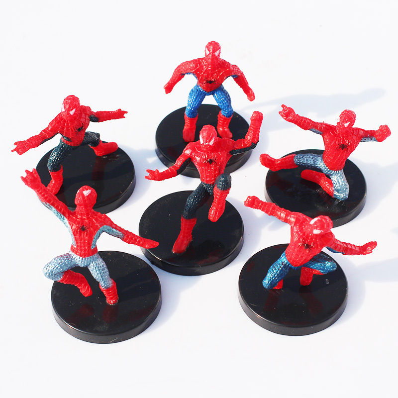 6Pcs/Set The Avengers Superheroes Spiderman Spider-man PVC Action Figures Toys Dolls With Base Hulk Iron Man  6 different spider man spiderman styles collections mini figures micro landscape gardening landscape fleshy doll