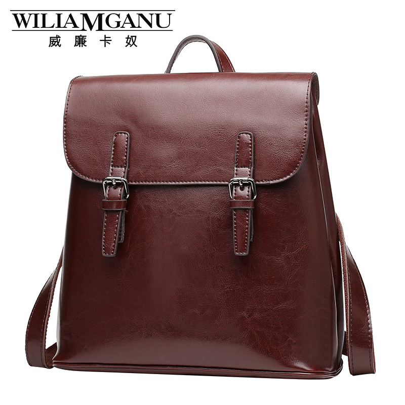 Wiliamganu Backpack Women Genuine Leather Bag Women Cow Leather Vintage Travel Backpack Female Bag Cover Waterproof 0787