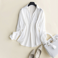 GUIYI Deep V Collar Sexy Long Sleeves Loose OL Ladies Shirt 100% Silk Women Solid White Comfort Temperament T shirt
