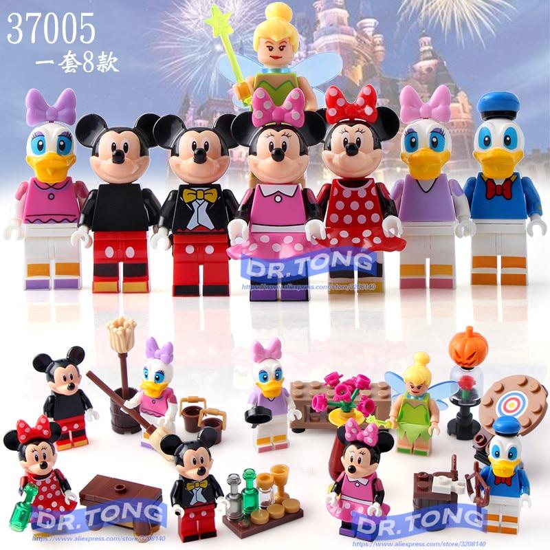 DR. TONG 80 PCS/LOT LELE 37005 Super héros Marvel dessin animé Mickey Minnie Donald canard Daisy fée clochette briques blocs de construction jouets