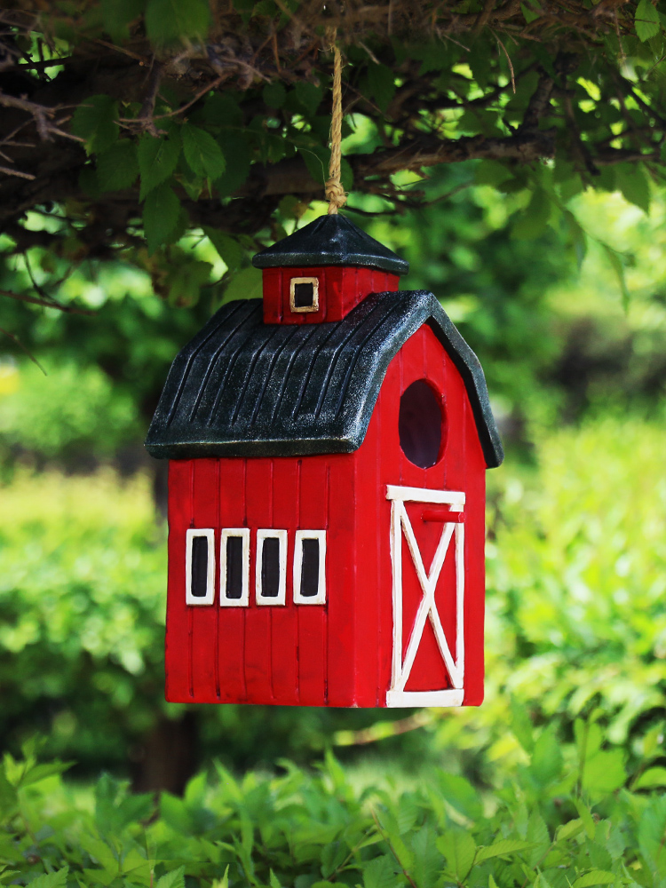 Cute Resin Decorative Nest Bird House Hang Statue Indoor/Outdoor Garden On-Tree Sculpture For Home Store Garden Decor Ornament