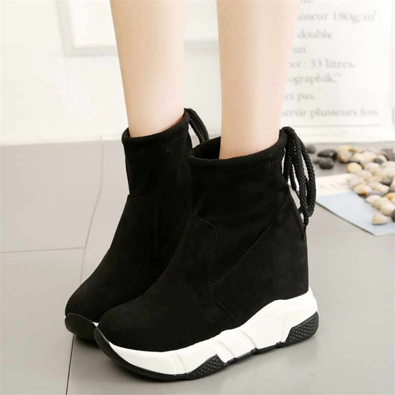 COOTELILI Women Ankle Boots Platforms Shoes Woman High Heels Inside Height Increasing Faux suede Boots Lace up Sneakers 35-39