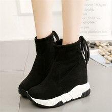 COOTELILI kadın yarım çizmeler platformları ayakkabı kadın yüksek topuklu içinde yüksekliği artan Faux süet çizmeler Lace up Sneakers 35 39