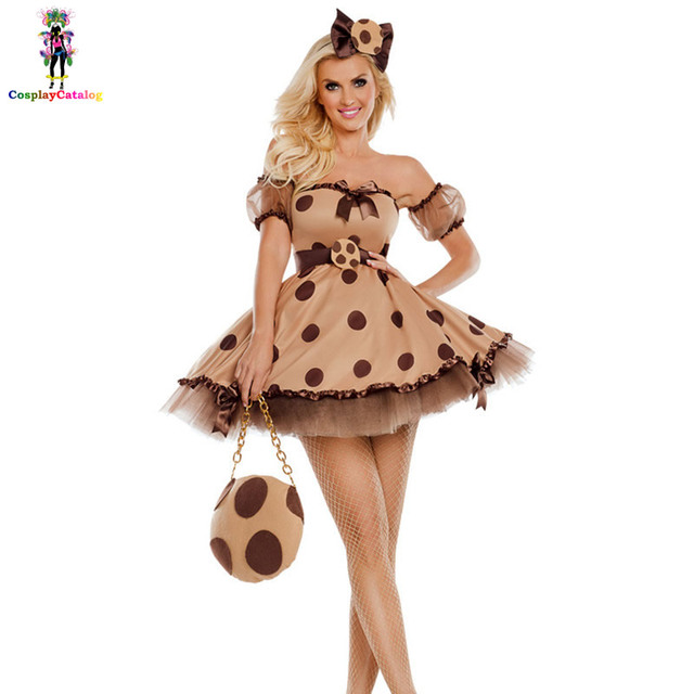 Womens Sexy Polka Dot Singer Costumes Brown Cookie Cutie Dresses Retro Halloween Cosplay Costume Adult Party  sc 1 st  AliExpress.com & Womens Sexy Polka Dot Singer Costumes Brown Cookie Cutie Dresses ...