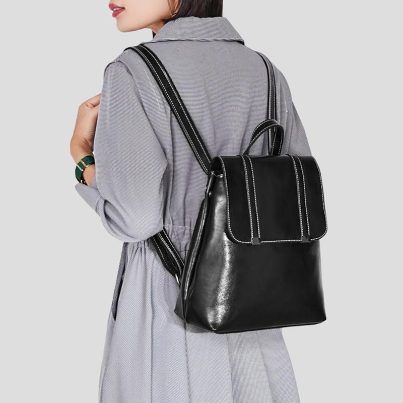 BEAU-Travel Backpack Simple Fashion Oil Wax Leather Messenger Bag Shoulder Bag School Backpack Lady BackpackBEAU-Travel Backpack Simple Fashion Oil Wax Leather Messenger Bag Shoulder Bag School Backpack Lady Backpack