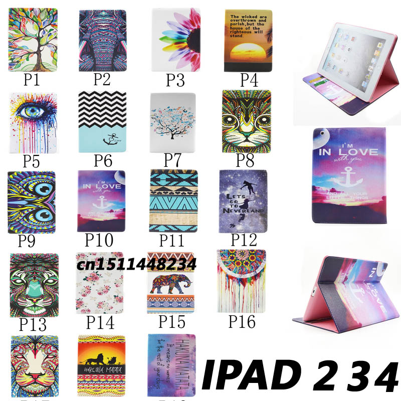 New Top quality Flower animal cartoon Card Slot pu leather Case for ipad 2 ipad 3