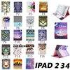 New Top Quality Flower Animal Cartoon Card Slot Pu Leather Case For Ipad 2 Ipad 3
