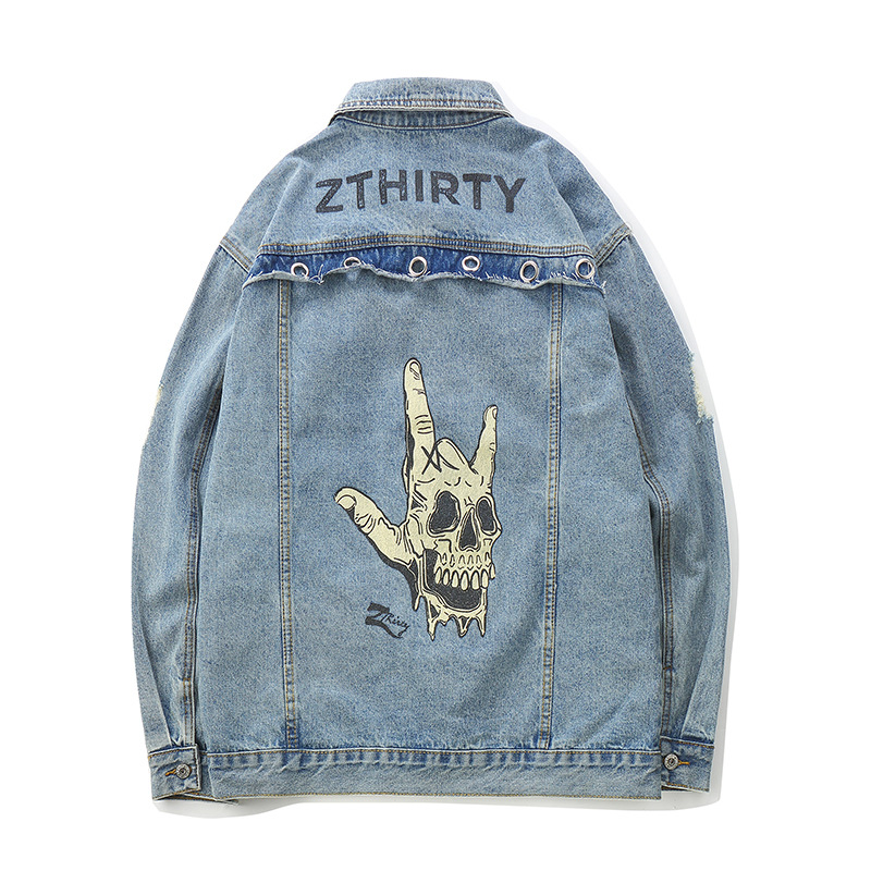 Skull Rock Gesture Funny Printed Denim Jackets Man Washed Metal Ring Punk Style Outerwear Streetwear Hip Hop Swag Denim Jackets