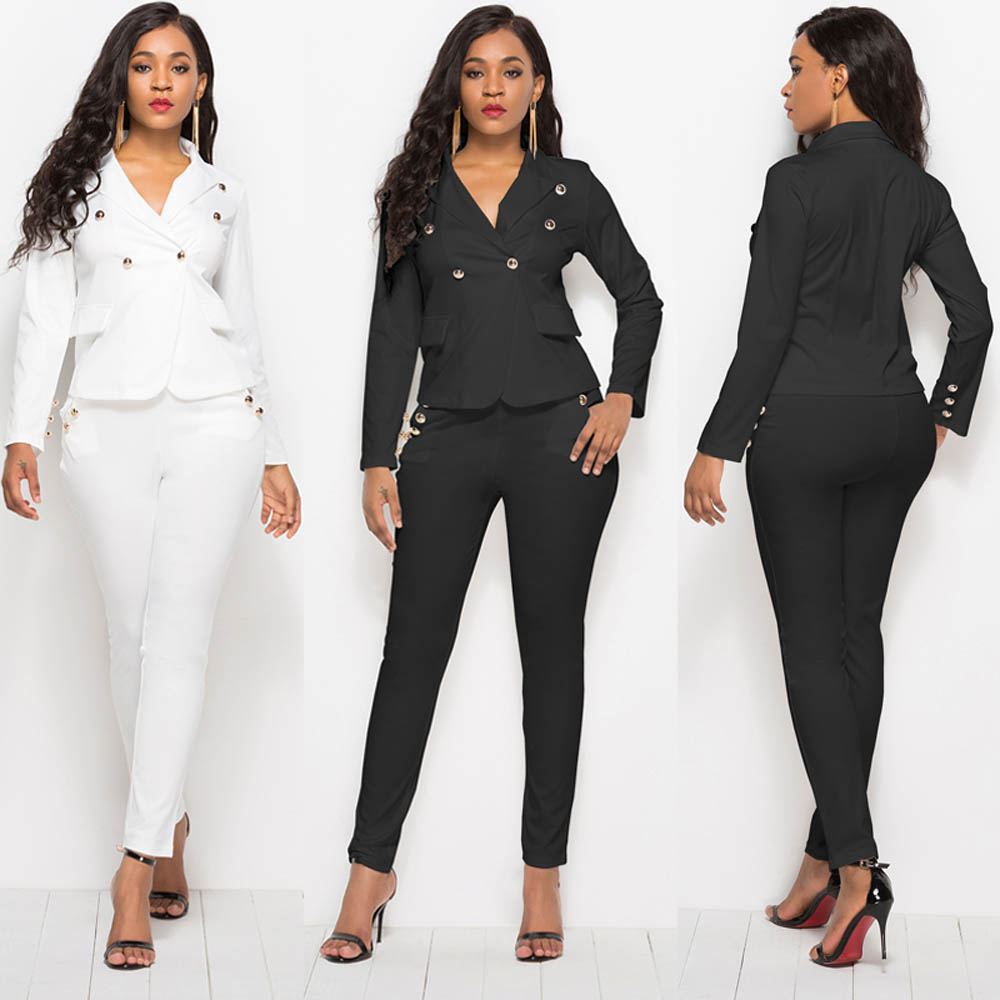 2019 Women Suits White Office Lady Two Piece Sets Blazer Jacket Fit Pants Casual Single Breasted Buttons Suits LMT YD5079 in Pant Suits from Women 39 s Clothing