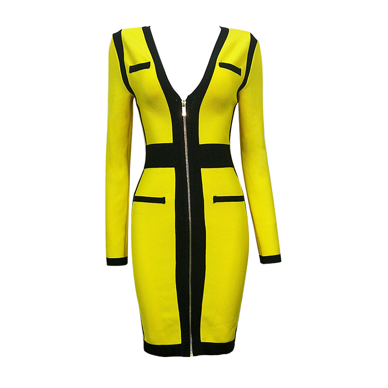 2017 New Dress yellow Long sleeves V-neck Stretch tight Fashion sexy Celebrity leisure Cocktail party Bandage dress (L2051)