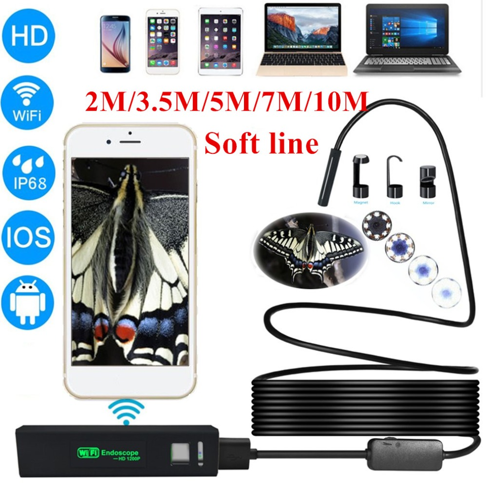 Wireless WiFi Endoscope HD 1200P Mini Waterproof Soft Cable Inspection Camera 8mm 8LED Borescope For IOS Android PC Soft line genuine fuji mini 8 camera fujifilm fuji instax mini 8 instant film photo camera 5 colors fujifilm mini films 3 inch photo paper