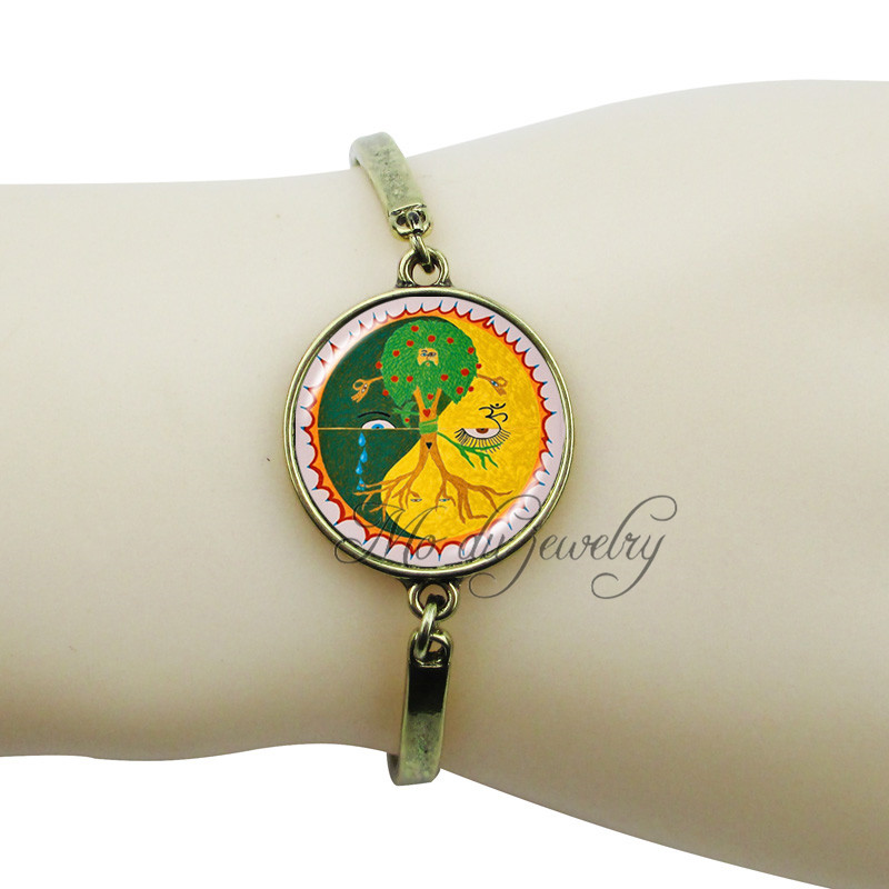 Orange green yin yang jewelry yin yang bracelet cross jewelry glass dome tree bangle evil eye jewelry om sign bracelet for women