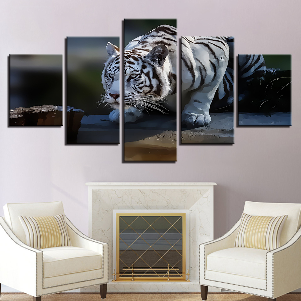 Modular HD Prints Pictures Home Decor 5 Pieces White Tiger