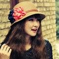 Mulheres flor chapéus de palha praia viagens verão sol chapéu meninas Cap Chapeau Boonie