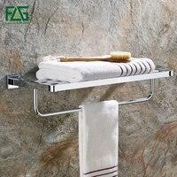 FLG Chrome Copper Bath Towel Rack Bath Towel Holder Double Towel Rails Bars Wall Mounted Towel Shelf Bathroom Accessories 85207